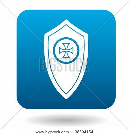 Shield with a cross icon in simple style in blue square. Weapon for combat symbol
