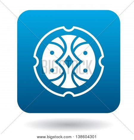 Round shield with ornament icon in simple style in blue square. Weapon for combat symbol