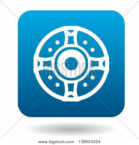 Round protective shield icon in simple style in blue square. Weapon for combat symbol