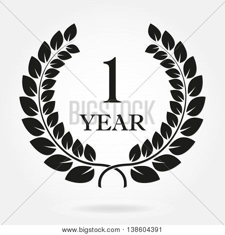 1 year anniversary laurel wreath sign or emblem. Template for celebration and congratulation design. Vector first anniversary label isolated on white background.