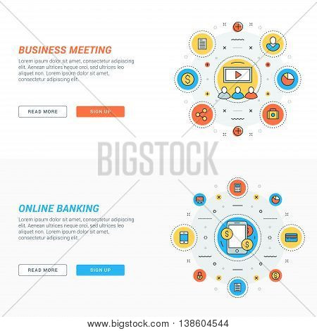 Set of flat line business website banner templates. Vector illustration. Modern thin line icons in circle. Business meeting. Online banking