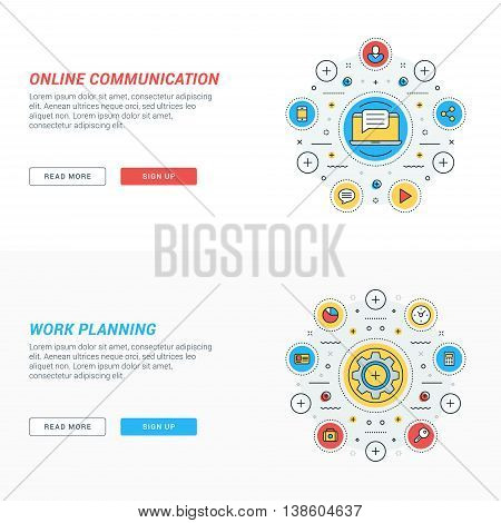 Set of flat line business website banner templates. Vector illustration. Modern thin line icons in circle. Online communication. Work planning