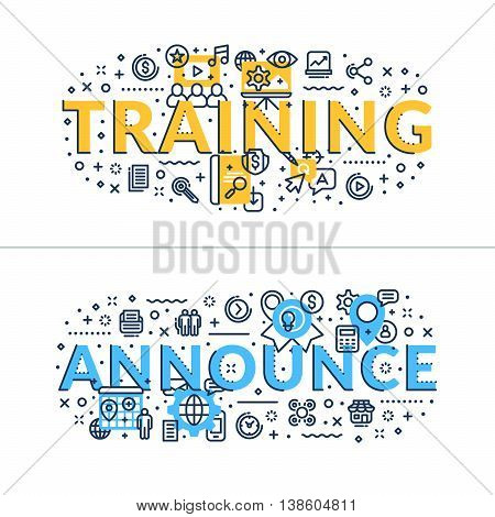 Training and Announce. Headings titles. Horizontal colored in blue and yellow flat vector illustration.