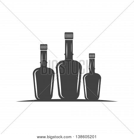 Three bottles with cork. Black icon logo element flat vector illustration isolated on white background.