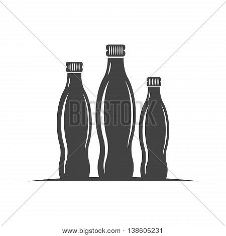Three bottles with screw cap. Black icon logo element flat vector illustration isolated on white background.