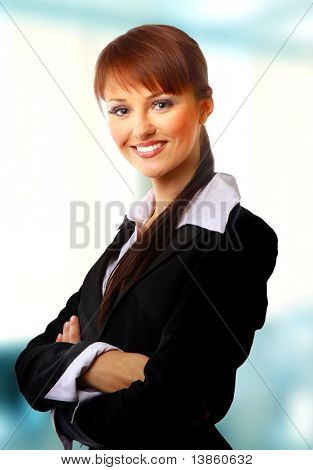 Positive business woman smiling over background