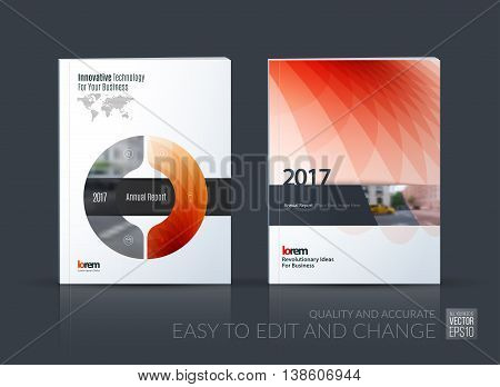 Brochure template layout, cover design annual report, magazine, flyer, leaflet in A4 with red circle, triangle, arrow with overlap effect for business and construction idea. Vector set.