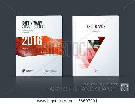 Brochure template layout, cover design annual report, magazine, flyer, leaflet in A4 with red triangle, arrow with overlap effect for business and construction idea. Vector set.