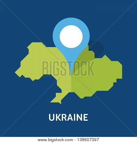 There is a map of Ukraine country isolated on blue background. European country. Vector template for website, design, cover, infographics. Graph illustration.