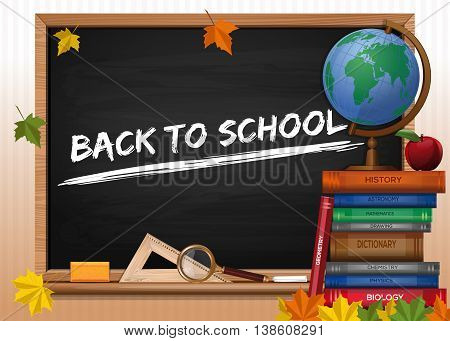 Blackboard. Back to school. Chalkboard with lettering, globe, apple, textbooks and autumn leaves. Vector illustration
