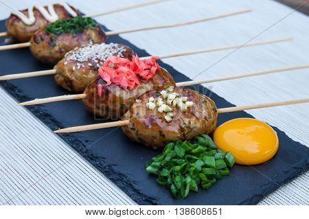 Japanese Cuisine, Chicken Meat Ball Yakitori Tsukune