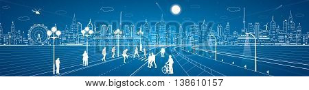 Amazing city panorama, people walk on the street, city's skyline on background, urban life, neon town, vector design art