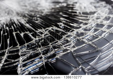 Abstract angle of shattered glass. Close up detailed