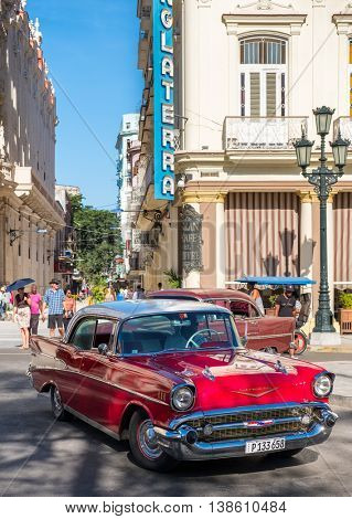HAVANA,CUBA - JULY 14,2016 : Classic red chevrolet in downtown Havana
