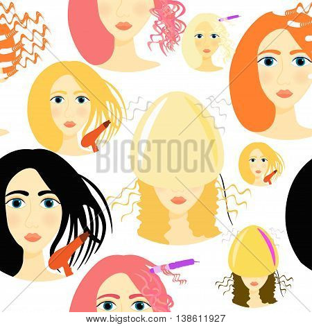 Seamless Pattern Girls For Beauty And Hair Salon. Vector Illustration