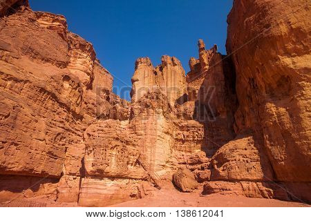 The Solomons Pillars in Timna Park Israel. The first copper mines in the history were here.