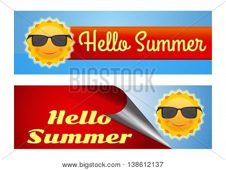 Hello summer lettering. Set of colorful banners with a cute smiling sun wearing sunglasses and inscription - Hello Summer. Vector illustration