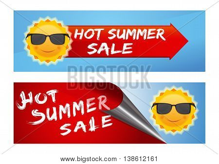 Summer sale banners set. Сolorful banners with a smiling sun in black sunglasses and inscription - Hot Summer Sale. Cute cartoon sun with sunglasses against the clear summer sky. Vector illustration