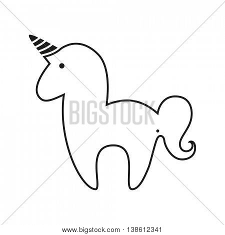 Unicorn. Magic horse with horn and wings. Unicorn silhouette on background. Vector illustration.