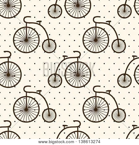 Retro bicycle seamless pattern on polka dot background. Vintage transport illustration. Old bike background.