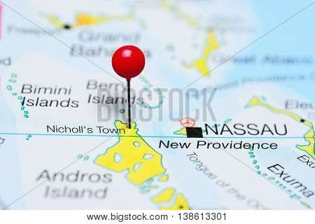 Nicholls Town pinned on a map of Bahamas
