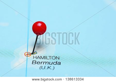 Hamilton pinned on a map of Bermuda