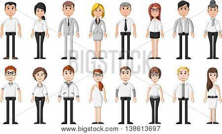 Group of cartoon business people wearing white clothes