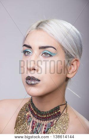 Girl Portrait Eccentric Make Up Side View