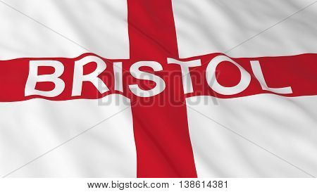 English Flag With Bristol Text 3D Illustration