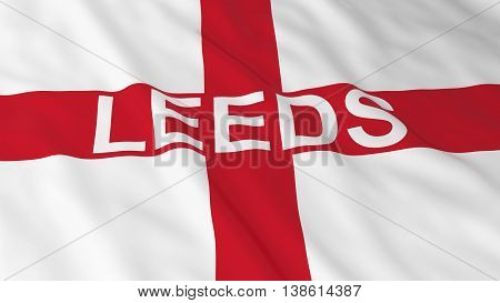 English Flag With Leeds Text 3D Illustration