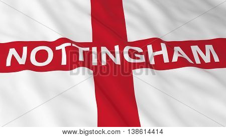 English Flag With Nottingham Text 3D Illustration