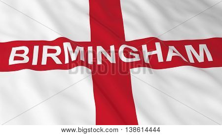 English Flag With Birmingham Text 3D Illustration