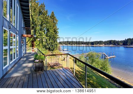 Walkout Deck Of Luxurious Home With An Amazing View Of Lake.