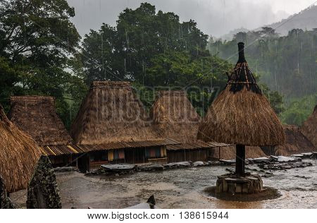 Thatched huts in a traditional village in Indonesia