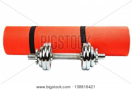 mat for fitness with dumbbells isolated on white background