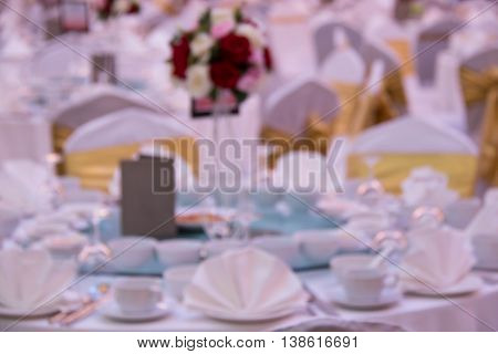 Blur of catering setup at wedding reception