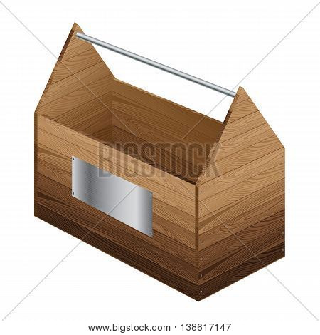 Wooden tool box with steel sign isolated on white background.