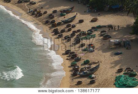 PHU YEN, VIET NAM, October 28, 2015 fishing boats anchored, Song Cau Bay, Phu Yen Beach. Vietnam