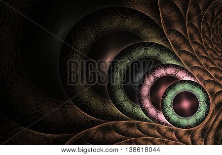 abstract fractal background a computer-generated 2D illustration, spiral, circle