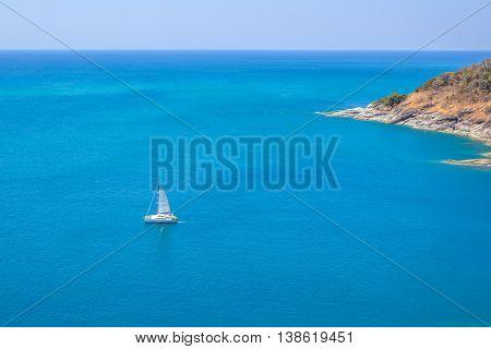 catamaran at  Promthep cape  viewpoint phuket thailand