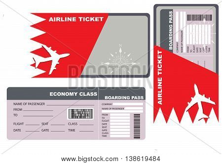 Economy class ticket for a flight to Bahrain.