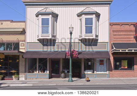 Store front businesses in downtown Walla Walla Washington state.