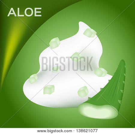 aloe vera foam cream mousse vector icon with a green aloe vera piece