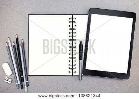 Office Table With Notepad, Pencils And Tablet Computer With Stylus