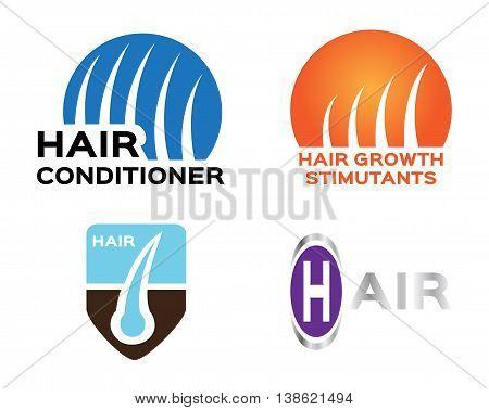 hair logo set vector , 4 hair style