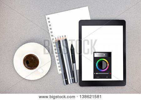 Office Workplace With Paper Sheet, Pencils, Tablet, Stylus And Coffee Cup