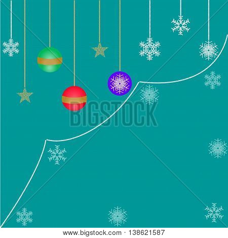decorations for Christmas, Christmas balls and snowflakes on a turquoise background in retro style
