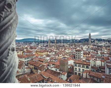 florence cityscape cloudy day and Palazzo Vecchio