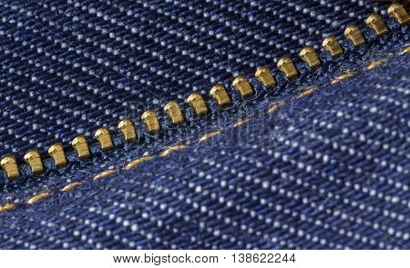 Metal Detail of zipper on jeans close-up