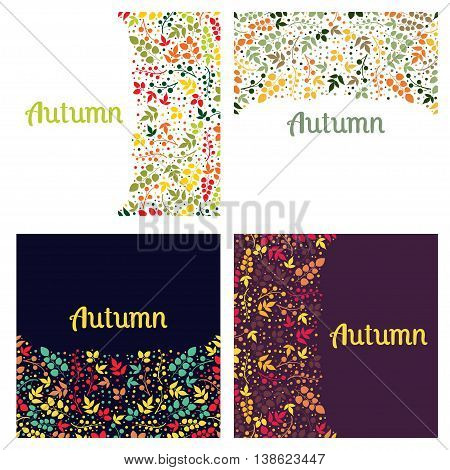 Set of Four Seamless Pattern With Leaf. Abstract leaf texture, endless background.Seamless pattern can be used for wallpaper, pattern fills, web page background, surface textures